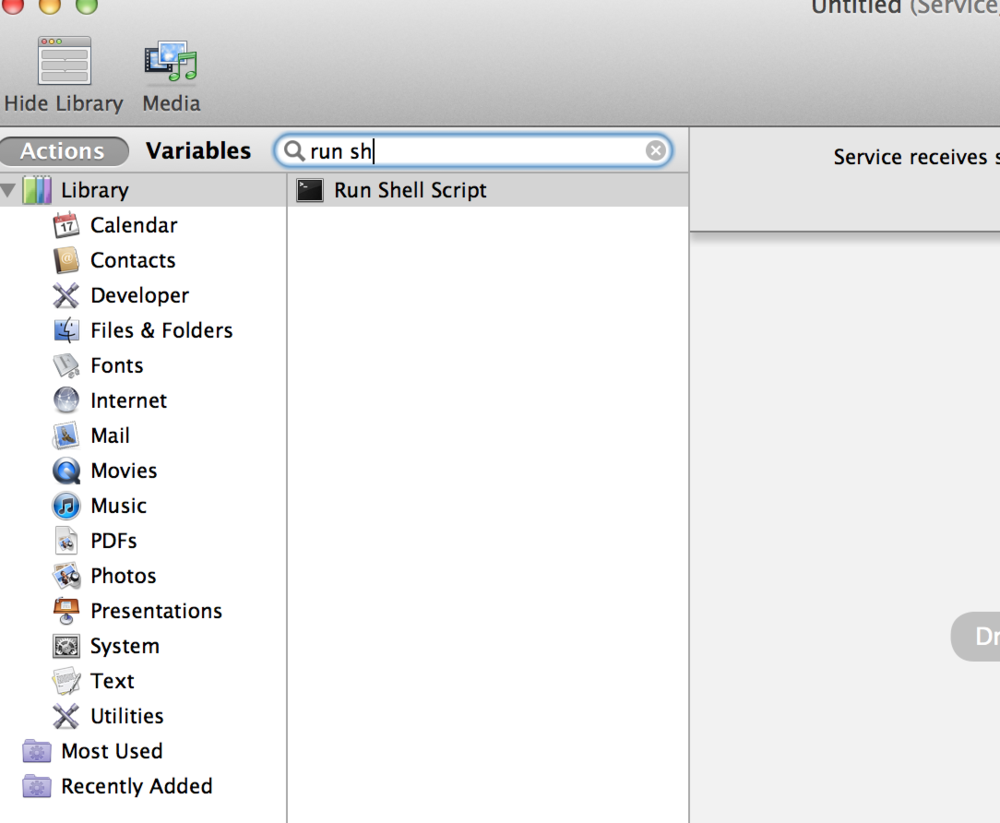Automator screen shot